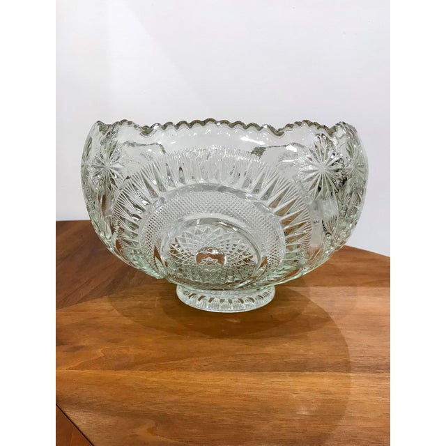 Vintage Cut Glass Punch Bowl & Cups - Set of 11 For Sale - Image 4 of 12
