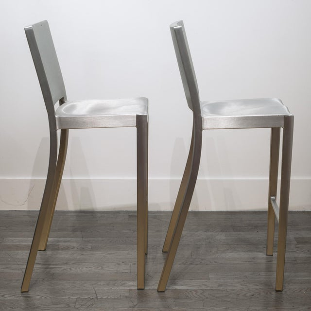 Set of 4 Emeco Hudson Counter Stools by Philippe Starck For Sale - Image 9 of 10
