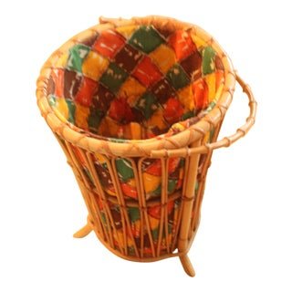 Vintage 1950s Rattan Bamboo Laundry Basket With Fabric Insert For Sale