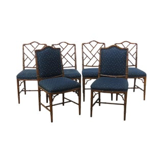 Vintage Mid Century Hollywood Regency Style Faux Bamboo Dining Chairs- Set of 6 For Sale