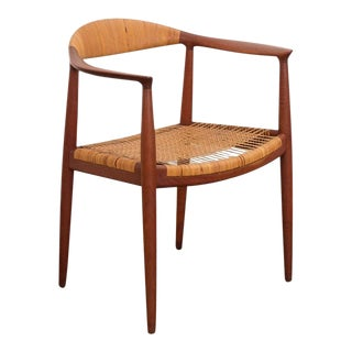 Mid 20th Century Hans Wegner Teak and Cane Round Chair For Sale