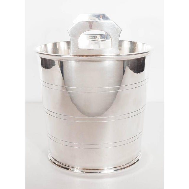 Art Deco English Art Deco Silver-Plate Ice Bucket with Handles For Sale - Image 3 of 8