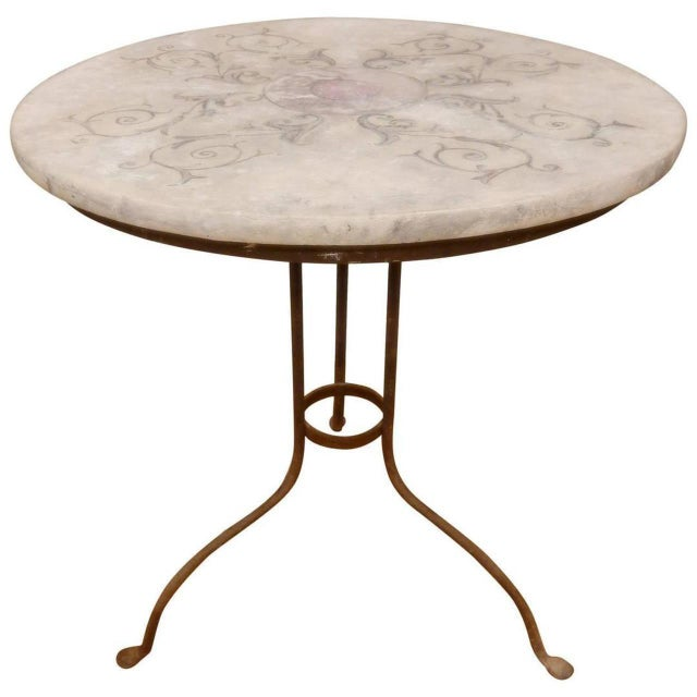 Italian Provincial Faux Marble Top Table on Iron Base For Sale - Image 9 of 9