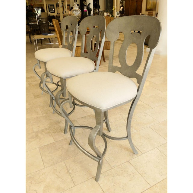 1990s Modern Biedermeier Style Metal Counter Stools - Set of 3 For Sale - Image 4 of 13