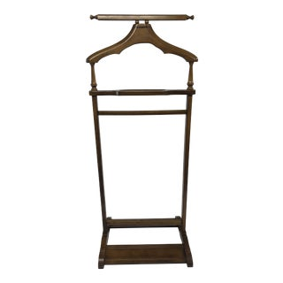 Mid Century Modern Wood Butler Rack / Valet Stand For Sale
