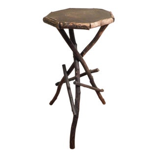 20th C. American Adirondack Twig Willow Octagonal Table For Sale