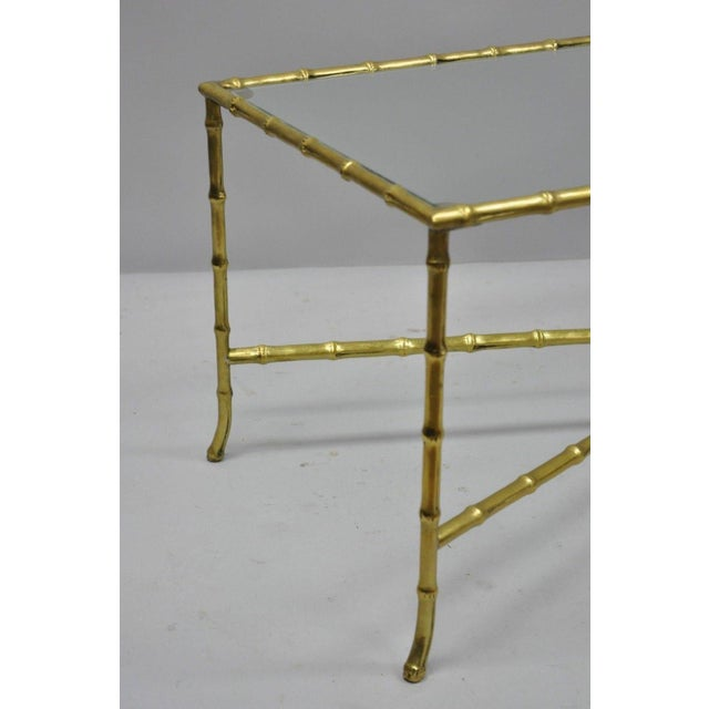 Mid 20th Century Maison Bagues French Bronze Faux Bamboo Glass Rectangular Coffee / Cocktail Table For Sale - Image 5 of 11