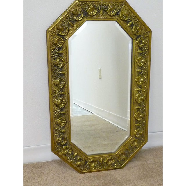 Art Deco Antique Repousse Shell Brass Beveled Wall Mirror For Sale - Image 3 of 8