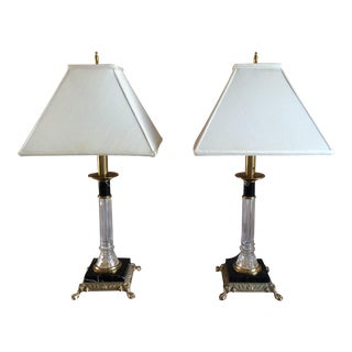 Vintage Waterford Crystal, Brass, and Black Marble Lamps - a Pair For Sale