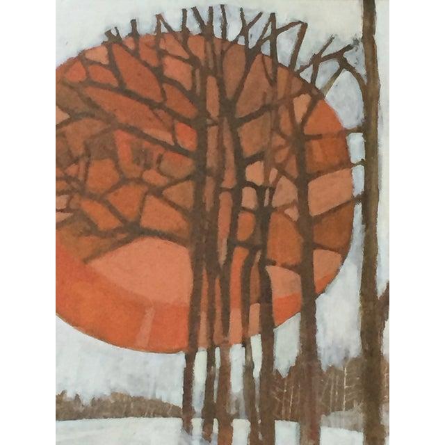 Arts & Crafts Vintage 1960's Oil Landscape Painting Winter Trees For Sale - Image 3 of 9