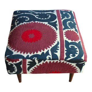 Vintage Mid Century Hand Embroidered Uzbek Suzani Tapestry Quilt Upholstery Bench Ottoman For Sale