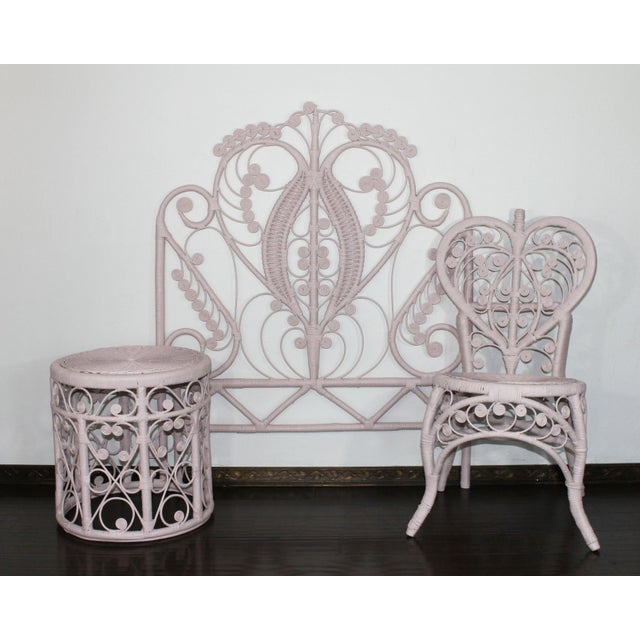 Pink Victorian Curlicue Wicker Twin Bedroom Set - 3 Pc. Set For Sale - Image 6 of 6