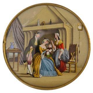 19th Century Candy Box With Painting on Cover For Sale