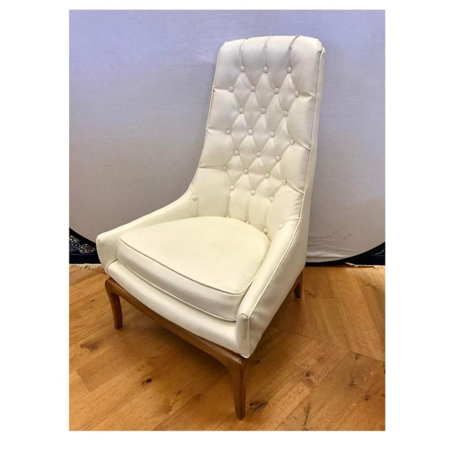 Art Deco Mid Century Widdicomb Robsjohn-Gibbings Quilted White Tufted Tall Chairs - a Pair For Sale - Image 3 of 11