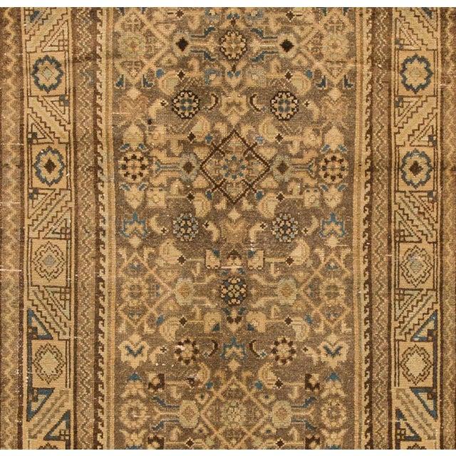 "Islamic Apadana - Vintage 1940s Tan/Beige Persian Malayer Carpet, 3'5"" x 14' For Sale - Image 3 of 4"