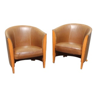 1930's French Art Deco Leather Club Chairs - a Pair For Sale