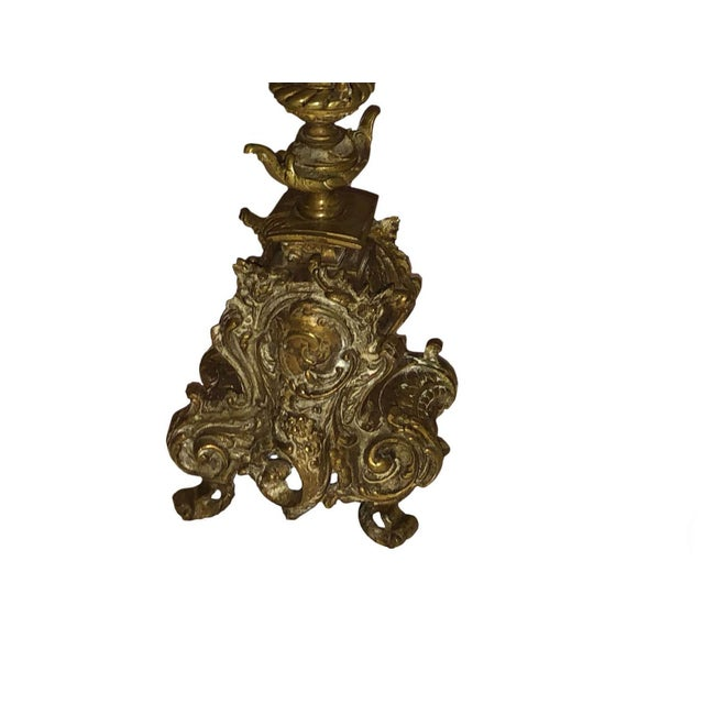 Metal French Bronze Antique Candelabra - a Pair For Sale - Image 7 of 9