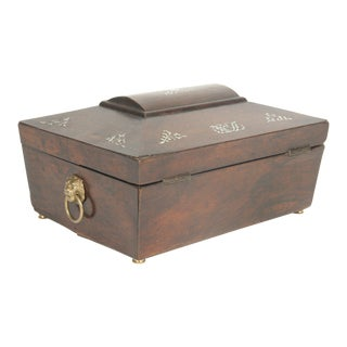 English Regency Sarcophagus Form Box With Mother of Pearl For Sale