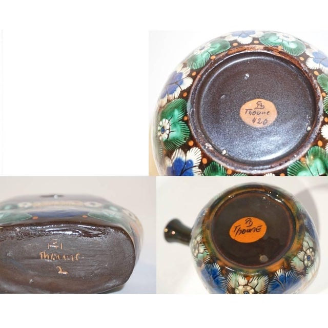 Ceramic Antique Swiss Arts & Crafts Thoune Majolica Vase, Jug and Holder - 3 Pc. Set For Sale - Image 7 of 10