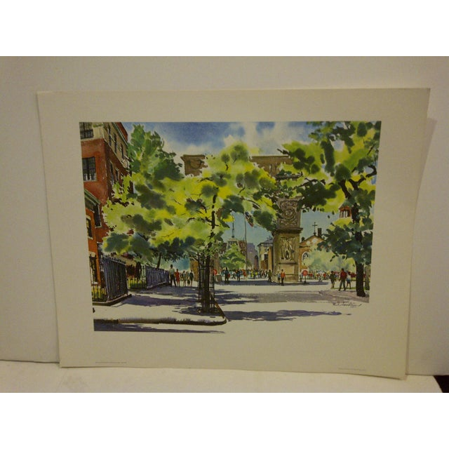 "This Is A Vintage -- United Airlines Print -- From The Painting By ""Phil Austin"" -- It Is Titled -- ""Washington Square --..."