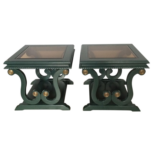 Harp-Shape Lacquer Side Tables - A Pair For Sale - Image 10 of 10