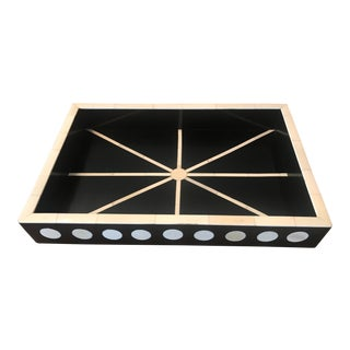 Anglo-Indian Bone Dot Starburst Inlaid Tray For Sale