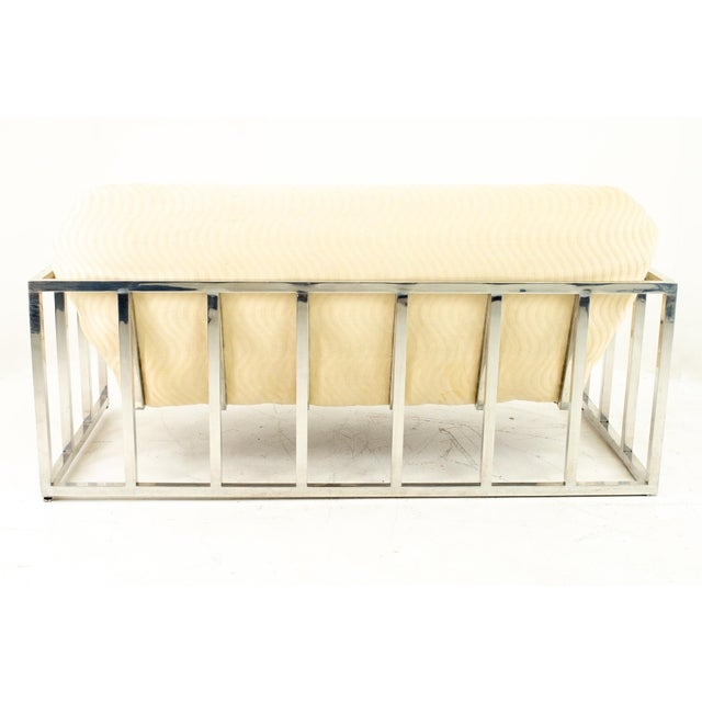 Antique White Milo Baughman Style Mid Century Floating Chrome Setee For Sale - Image 8 of 10