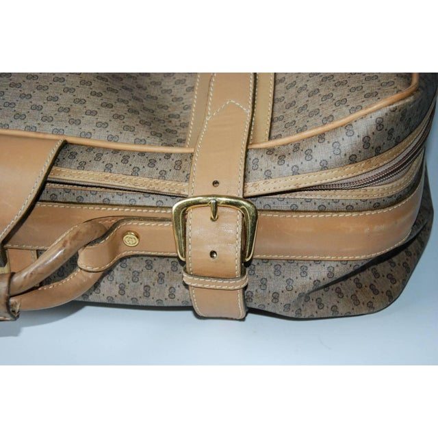 1970 Gucci Leather and Fabric Logo Suitcase With Brass Insignia For Sale - Image 9 of 11