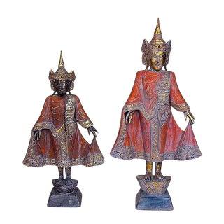 Thai Style Buddha in Antique Saffron - a Pair For Sale