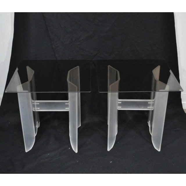 Mid-Century Modern Vintage Pair Mid Century Modern Frosted Lucite & Glass Butterfly End Side Tables For Sale - Image 3 of 11