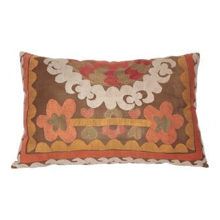 1970s Vintage Orange Tone Suzani Pillow -27''x16'' Inches For Sale