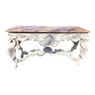 Louis XV Style Painted Rococo Style Marble Top Console For Sale