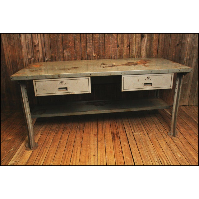 Excellent Vintage Industrial Steel Work Bench By Lyon Frankydiablos Diy Chair Ideas Frankydiabloscom