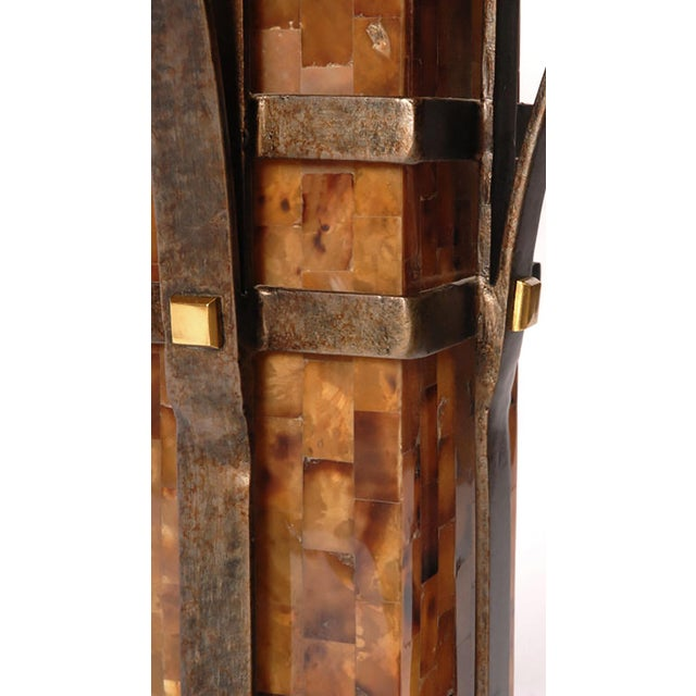 Pair of Maitland Smith Tessellated Horn and Iron Table Lamps - Image 4 of 5