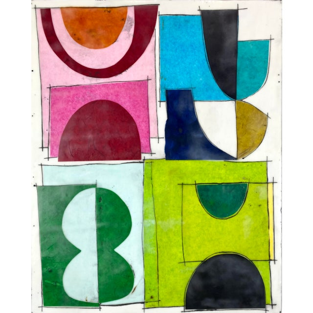 """""""The Green Hour"""" Contemporary Abstract Encaustic Collage Painting by Gina Cochran For Sale"""
