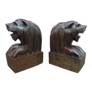 Vintage Hand Carved Wood Lion Bookends - a Pair For Sale