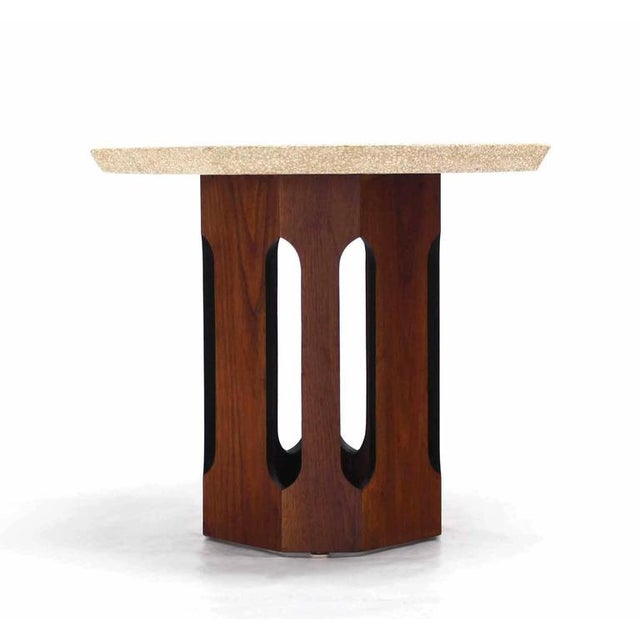 Pair of Octagon Shape Travertine Top End or Side Table on Walnut Bases - Image 7 of 7
