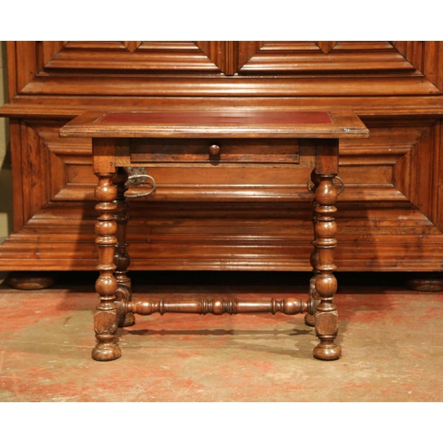 French 19th Century, French, Louis XIII Carved Walnut Table Desk With Red Leather Top For Sale - Image 3 of 11