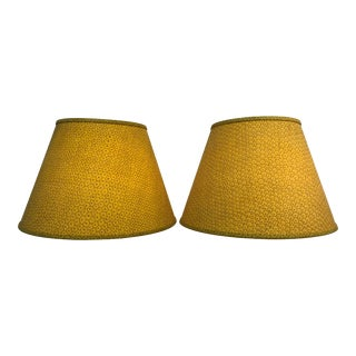 Paul Ferrante Dark Yellow Fabric Custom Shades - A Pair For Sale
