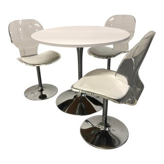 Chrome Tulip Table and Lucite Chairs - Set of 4 For Sale