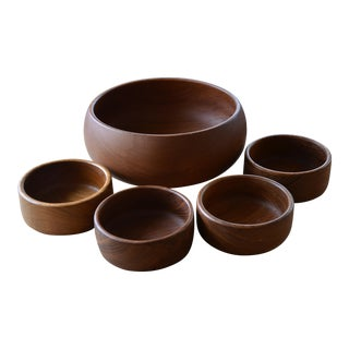 Danish Modern Teak Salad Bowls - Set of 5