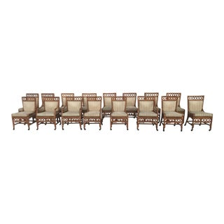Ficks Reed Bent Bamboo and Leather Dining Chairs- Lot of 18 For Sale