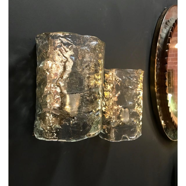 Murano 1960s Italian Cylindrical Wall Lights in Frosted Murano Glass-a Pair For Sale - Image 4 of 10