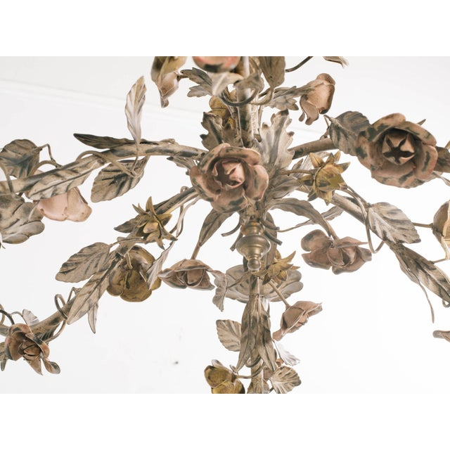 Metal 1960s Italian Tole Floral Chandelier For Sale - Image 7 of 9