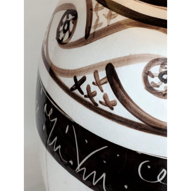 Vintage 1970s Cream & Brown Ceramic Table Lamp For Sale - Image 11 of 13