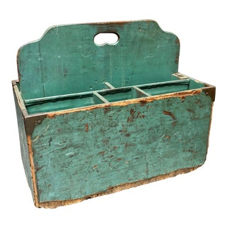 1940s Vintage Teal-Hand-Painted Wood-Crafted Tool and Art Supplies Work Box For Sale