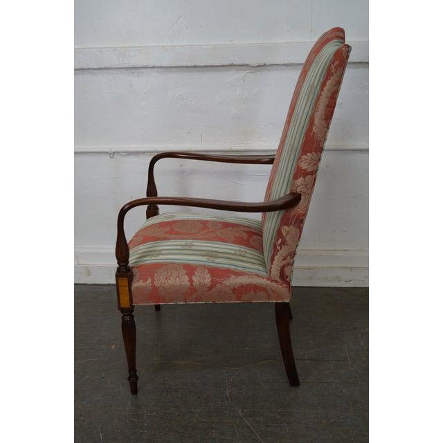 Wood & Hogan Custom Mahogany Inlaid Sheraton Style Lolling Chair - Image 6 of 10