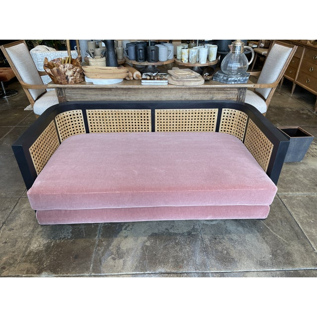 Textile Caned Back Sofa in Mauve Mohair For Sale - Image 7 of 7