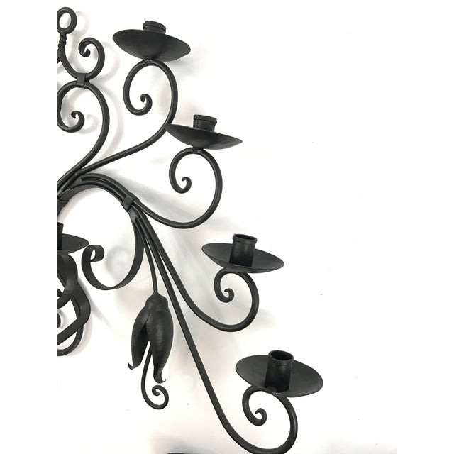 Custom Made Wrought Iron Wall Candelabra - Image 3 of 7