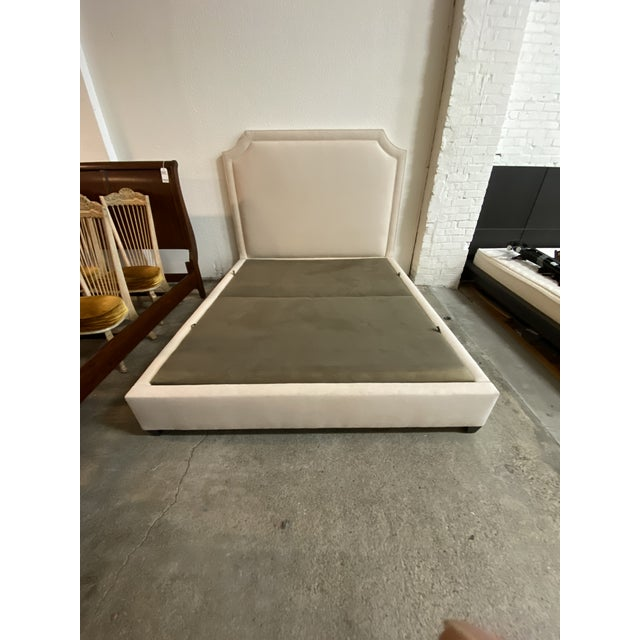 Transitional California King Nathan Anthony Brownstone Upholstered Bedframe For Sale - Image 3 of 11